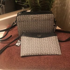 Guess black and grey crossbody and wristlet